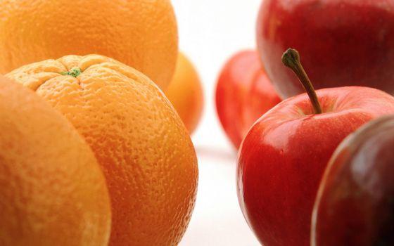 Фото бесплатно фрукты, апельсины, оранжевые, яблоки, красные
