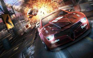Бесплатные фото машины,гонка,трасса,скорость,взрыв,огонь