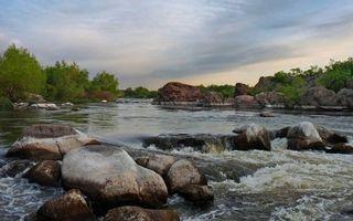 Бесплатные фото река,течение,камни,валуны,порог,берега,деревья