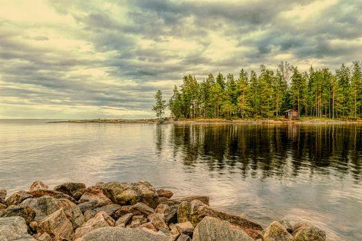 Заставки Вермланда,Швеция,Природа,Пейзаж,закат,морской пейзаж,коттедж
