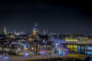 Бесплатные фото Амстердам,Нидерланды,город,ночь,огни,иллюминация