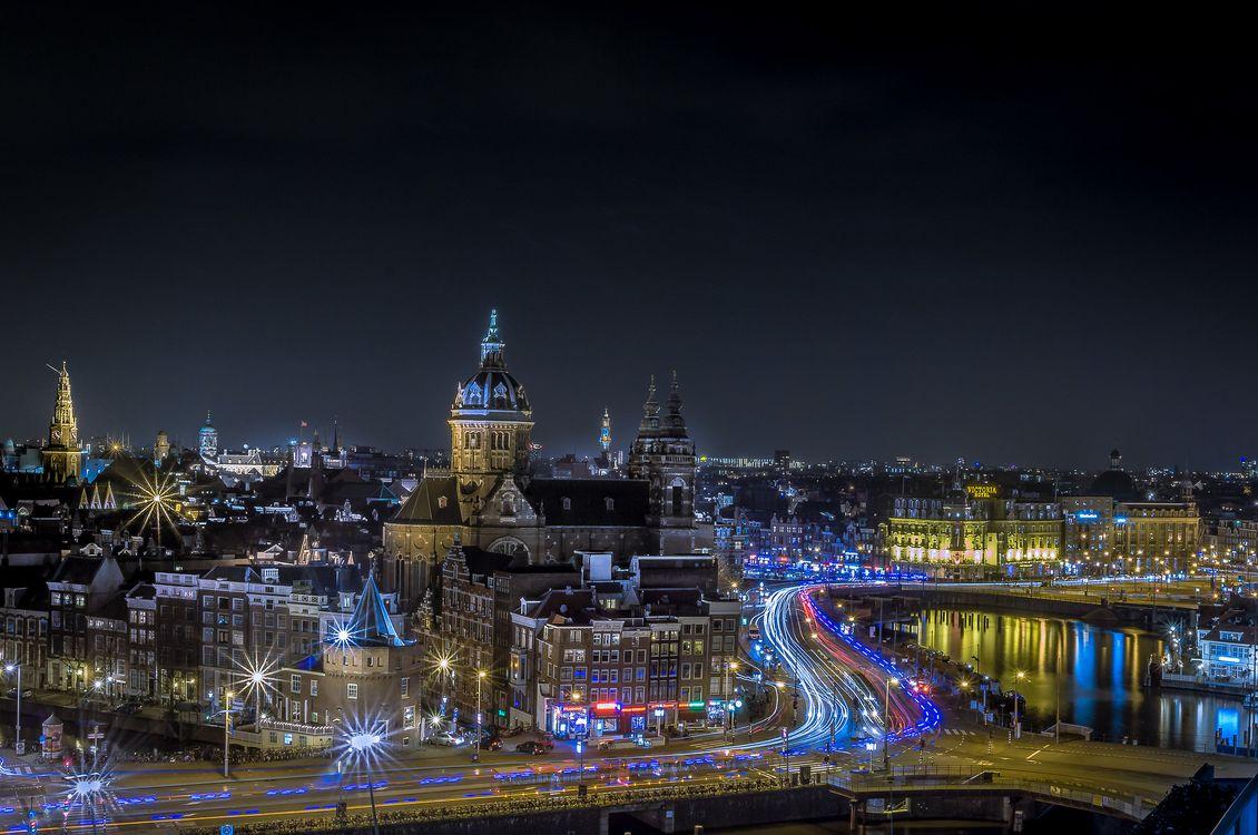 Фото бесплатно Амстердам, Нидерланды, город, ночь, огни, иллюминация, город