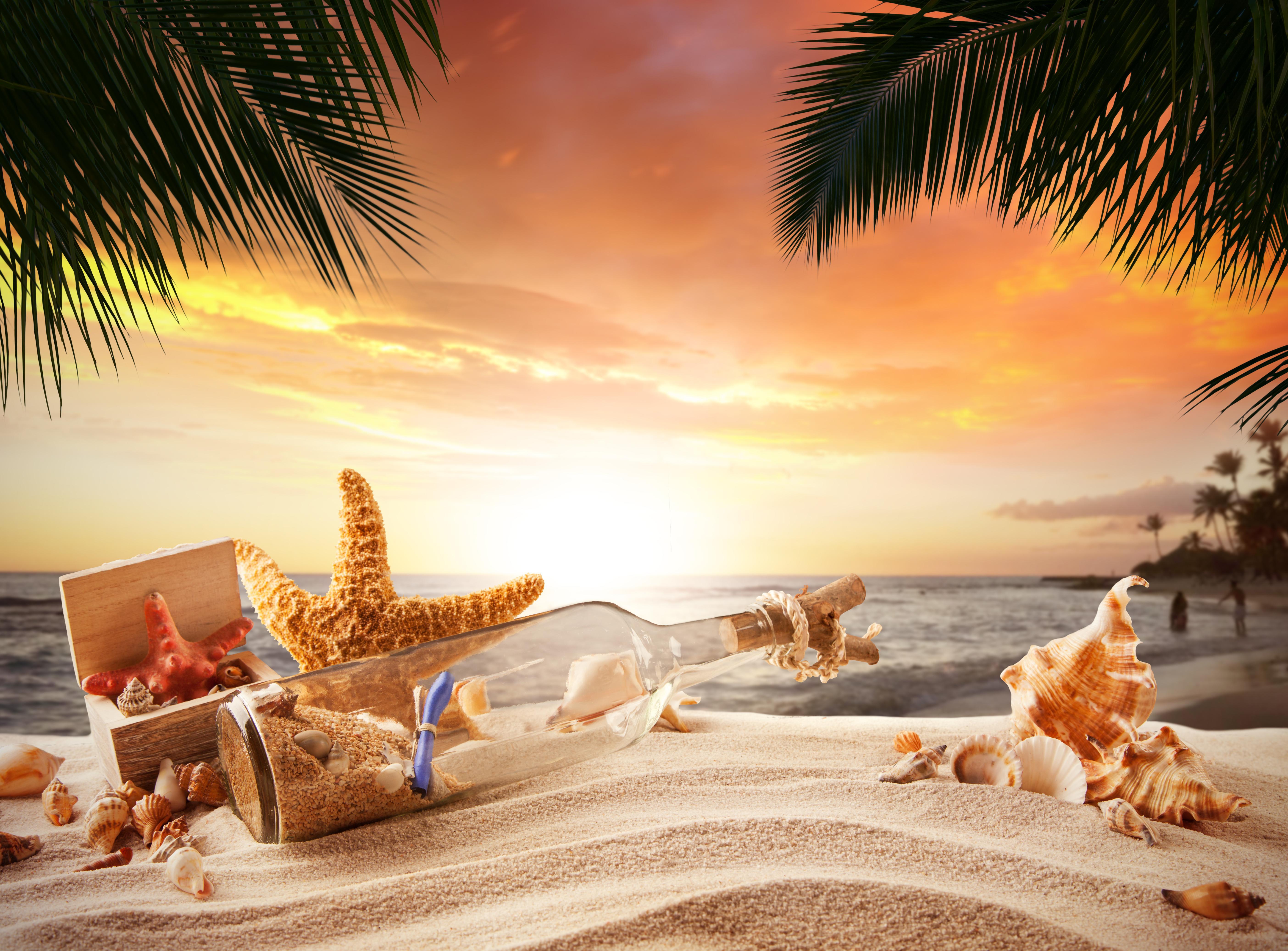обои море, берег, бутылка, морская звезда картинки фото