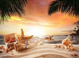 Фото бесплатно море, берег, бутылка, морская звезда, ракушки, закат
