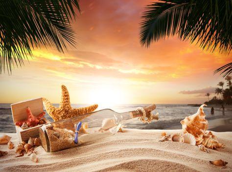 Фото бесплатно море, берег, бутылка
