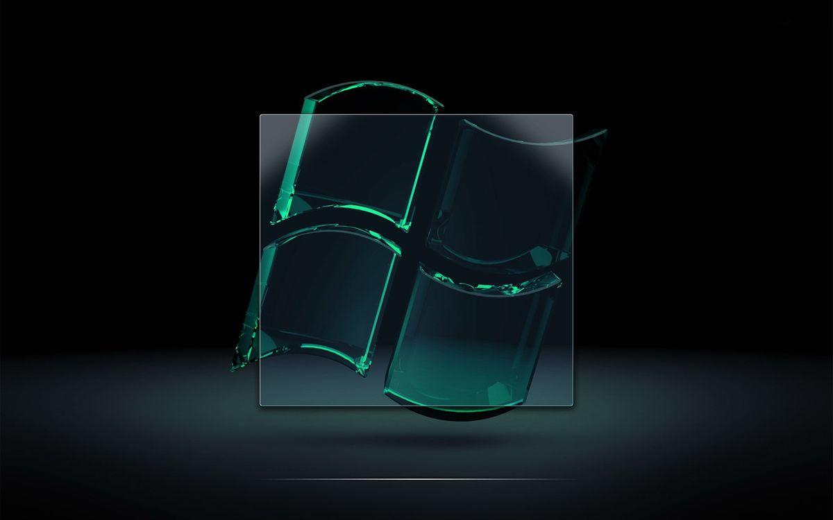 Фото бесплатно виндовс, эмблема, значок, стекло, фон черный, hi-tech