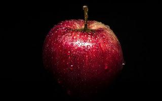 Бесплатные фото яблоко,красное,мокрое,черный фон