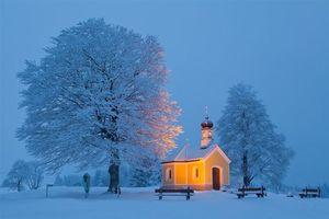 Обои Bavaria, Германия, зима, снег, деревья, церковь, часовня, пейзаж