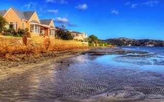 Бесплатные фото река, берег, дома, растительность, холмы, небо
