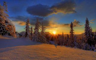 Заставки зима,вечер,горы,деревья,снег,небо,облака
