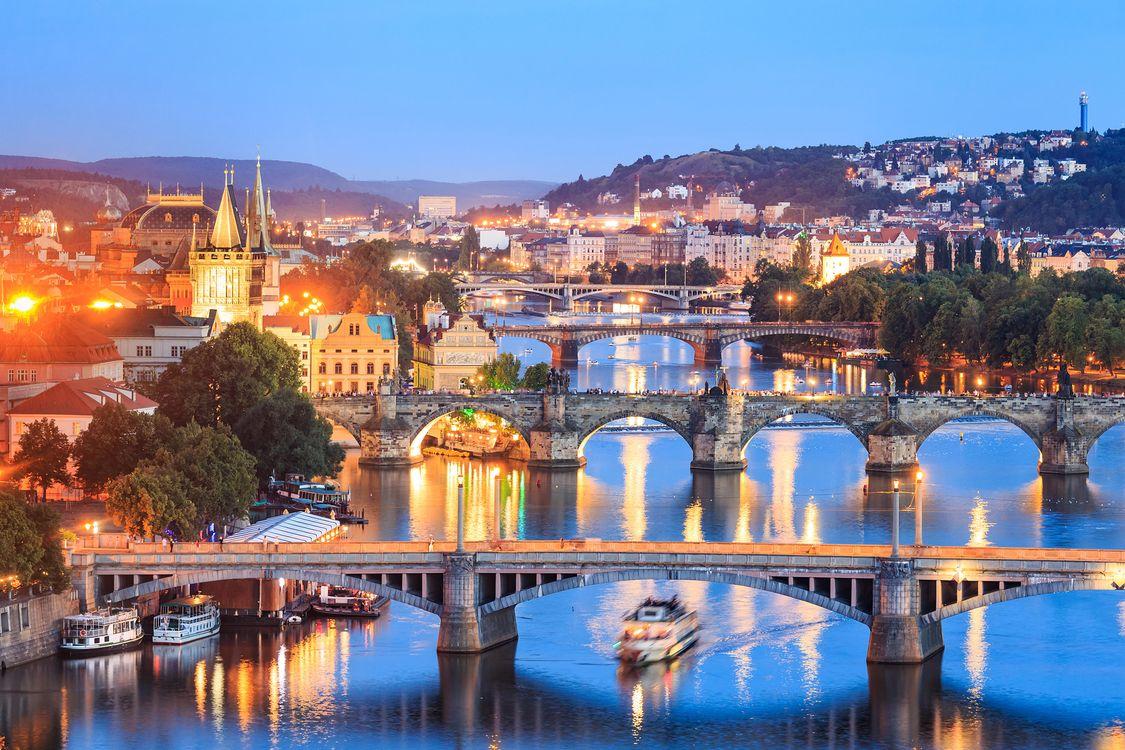 Фото бесплатно Прага, Чехия, Река Влтава, мосты, город