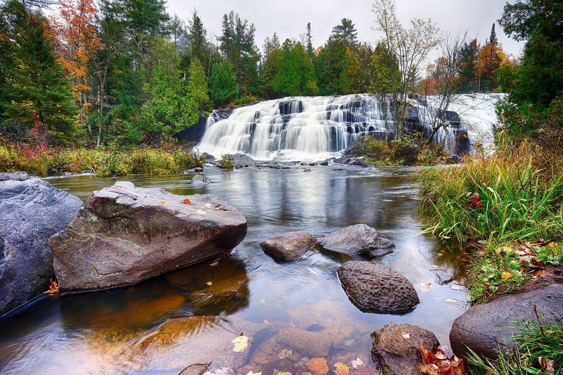 Фото бесплатно река, водопад, осень - на рабочий стол