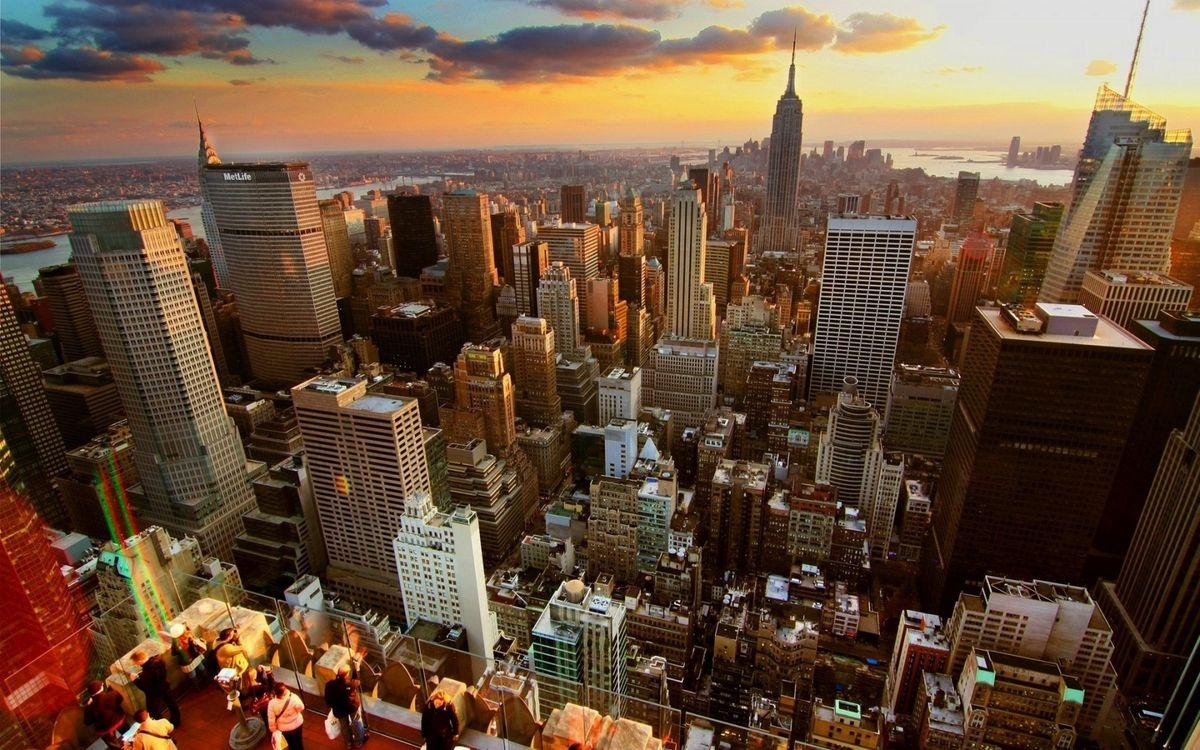 Фото бесплатно дома, здания, небоскребы, улицы, крыши, смотровая площадка, люди, город