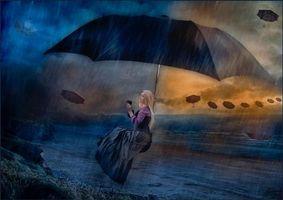 Бесплатные фото дождь,шторм,девушка,зонт,art