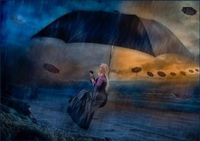Обои дождь, шторм, девушка, зонт, art