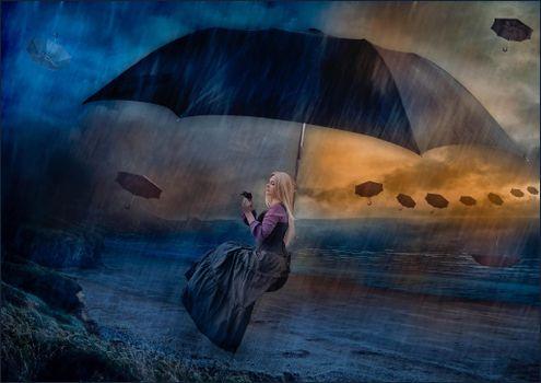 Фото бесплатно дождь, шторм, девушка