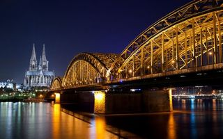 Заставки ночь, река, мост
