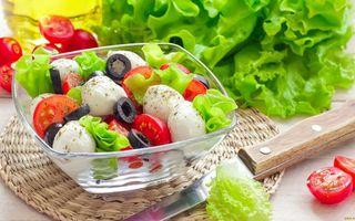 Бесплатные фото греческий салат,сыр,маслины,помидоры,листья салата,посуда,нож