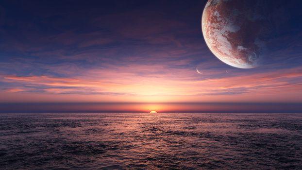 Фото бесплатно океан, закат, планета