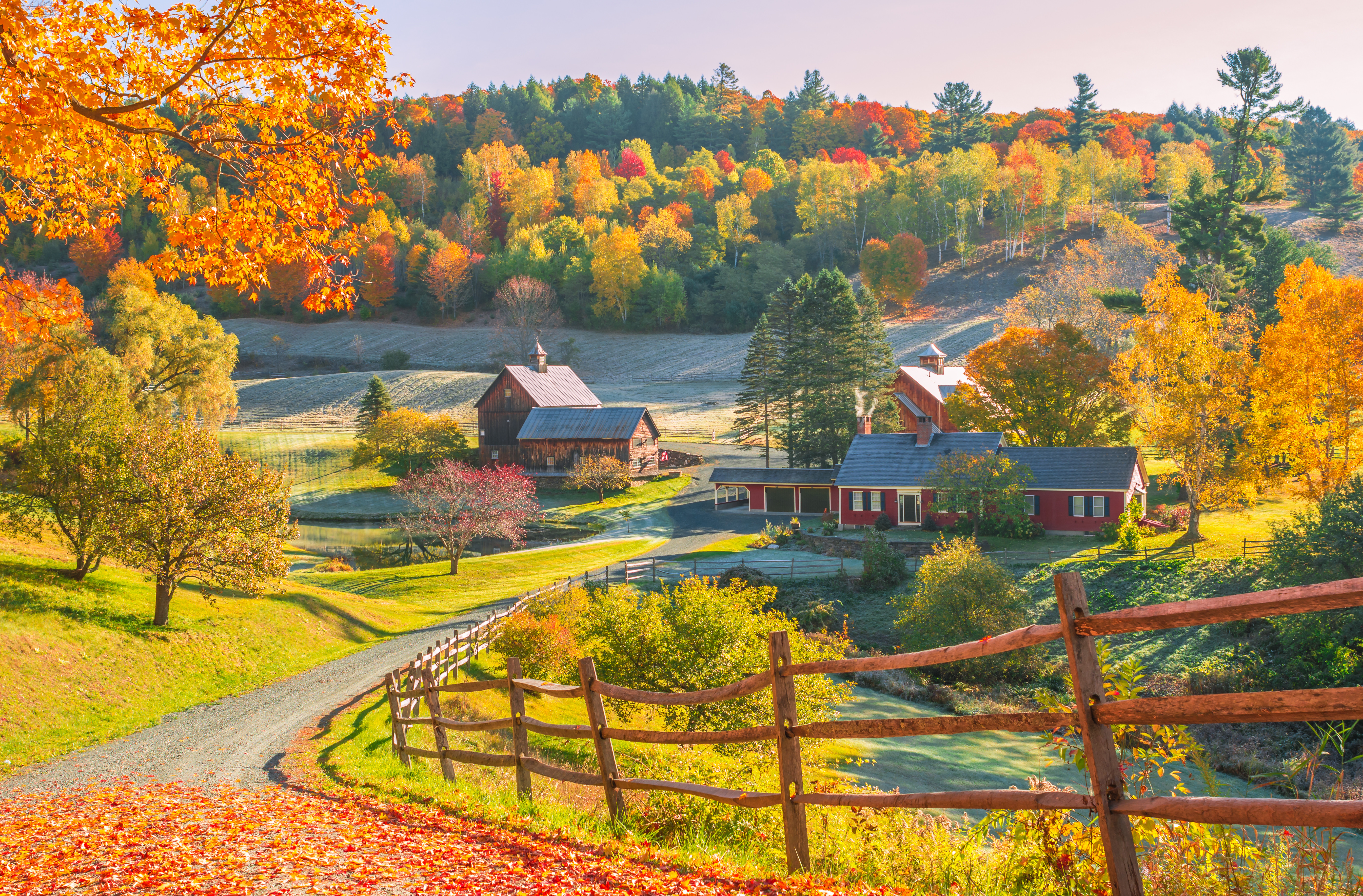 обои New England, Vermont, осень, холмы картинки фото