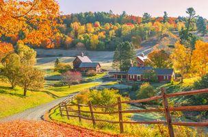 Фото бесплатно пейзаж, холмы, дома