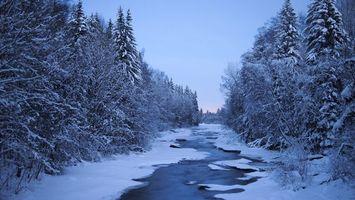 Бесплатные фото Финляндия,зима,снег,сугробы,деревья,река,закат