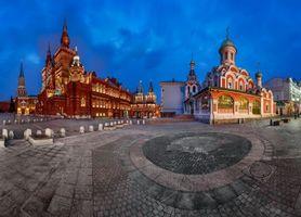 Бесплатные фото Панорама Красной площади,Кремль,Исторический музей,Воскресенских ворот и Казанского собора,Москва,Россия