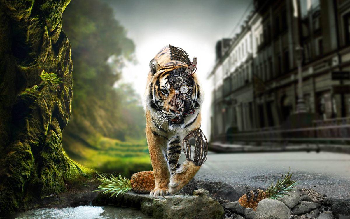 Фото бесплатно механический тигр, шестеренки, тигр - на рабочий стол