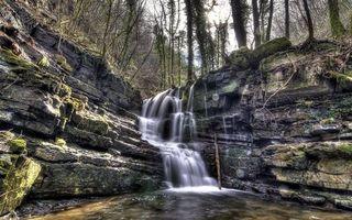 Фото бесплатно камни, водопад, горы