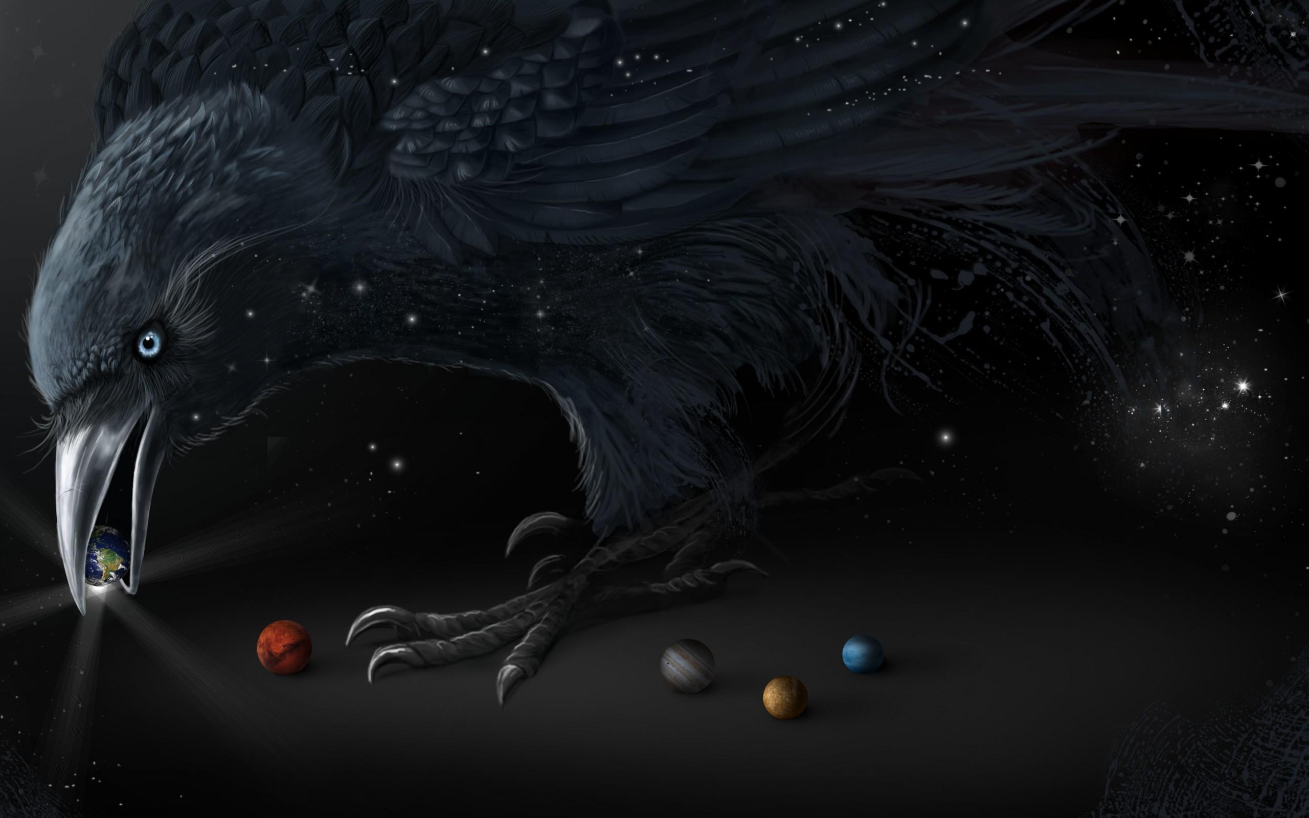 обои ворон, шарики, планеты, звезды картинки фото