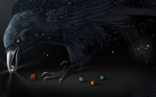 Бесплатные фото ворон, шарики, планеты, звезды