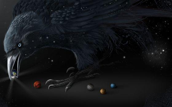 Фото бесплатно ворон, шарики, планеты