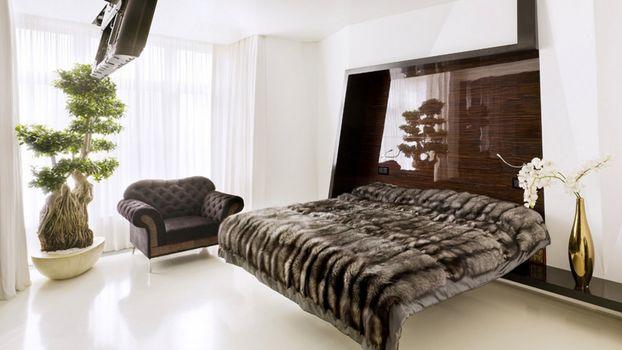 Фото бесплатно комната, кровать, ваза