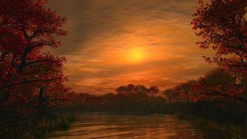 Бесплатные фото осень, вечер, деревья, трава, озеро, небо, облака