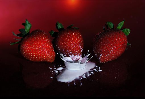 Photo free strawberry, cream, drop
