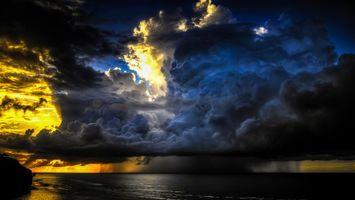 Заставки море, тучи, гроза, дождь, природное явление