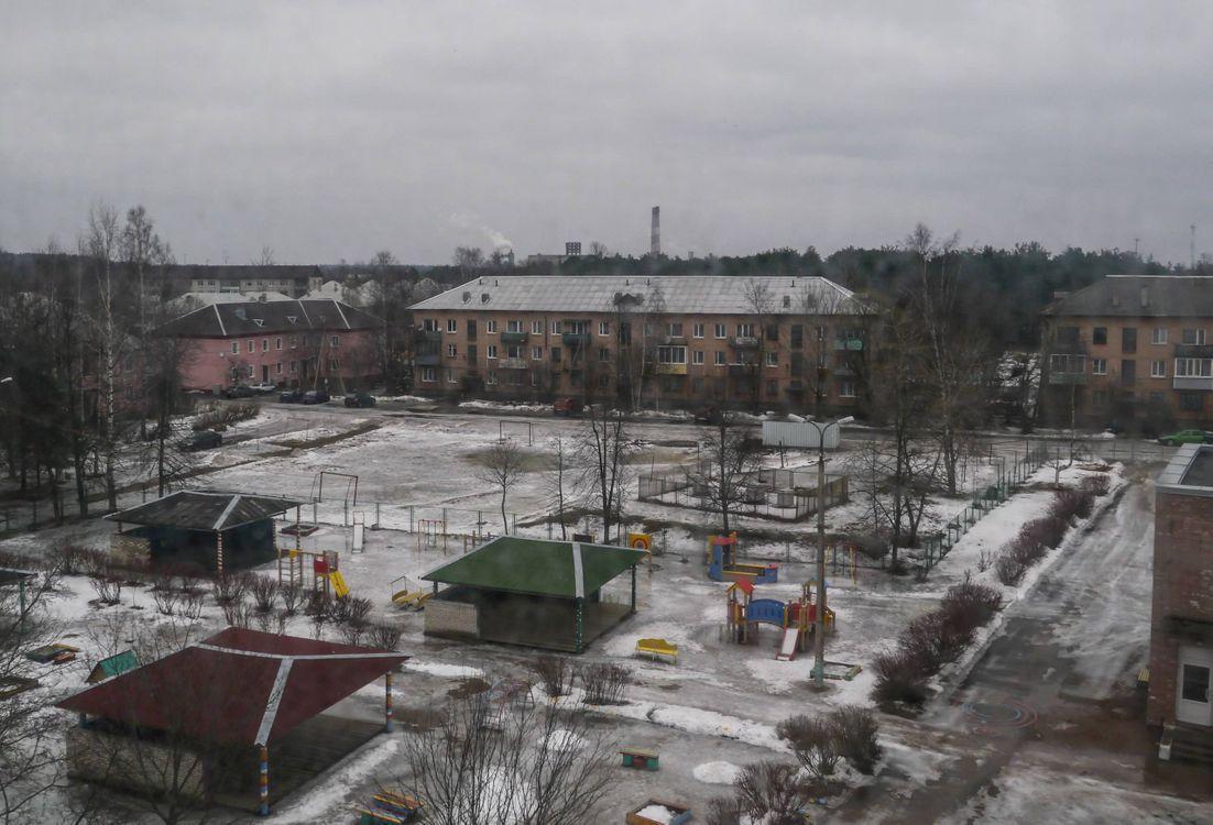Фото бесплатно Приозерск, детская площадка, снег, садик, осень, город