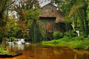 Бесплатные фото речка,осень,водяная мельница,водопад,деревья,пейзаж