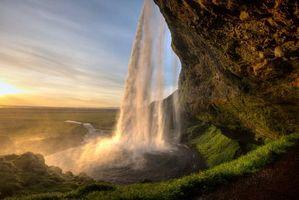 Фото бесплатно водопад, гора, поле