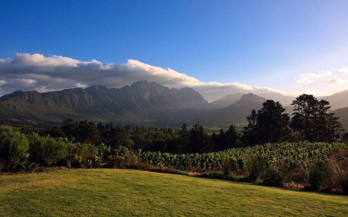 Фото бесплатно трава, кустарник, деревья, горы, небо, облака, пейзажи
