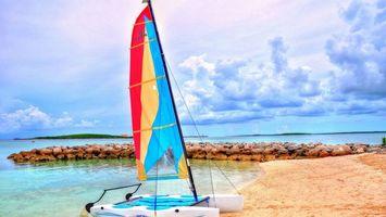 Бесплатные фото берег,песок,катамаран,парус,насыпь,камни,море