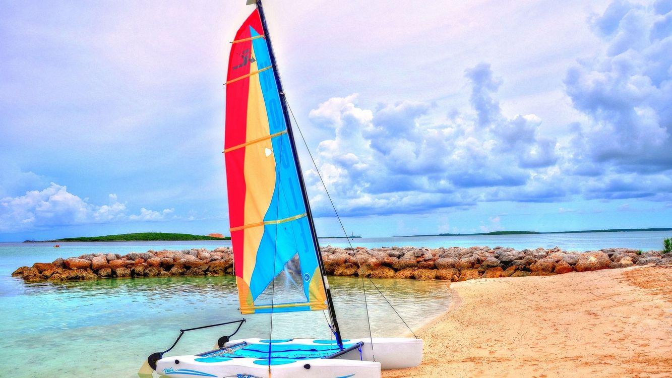 Photos for free shore, sand, catamaran - to the desktop