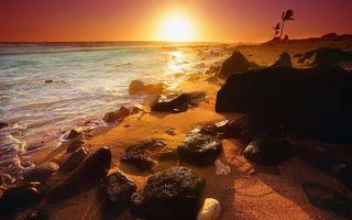 Фото бесплатно закат, песок, побережье