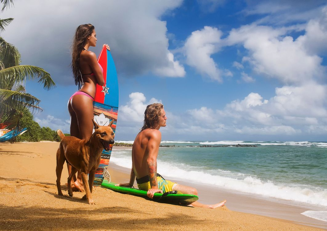 Фото бесплатно серфинг, девушка, мужчина - на рабочий стол
