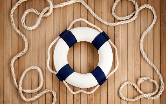 Photo free life ring, rope, deck
