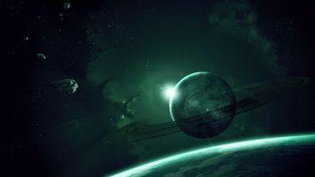 Заставки планеты, кольца, метеориты