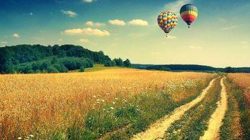 Фото бесплатно деревья, воздушные шары, трава