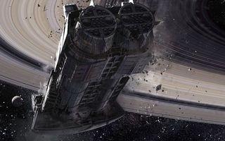 Фото бесплатно космический корабль, подлет к планете, Сатурн