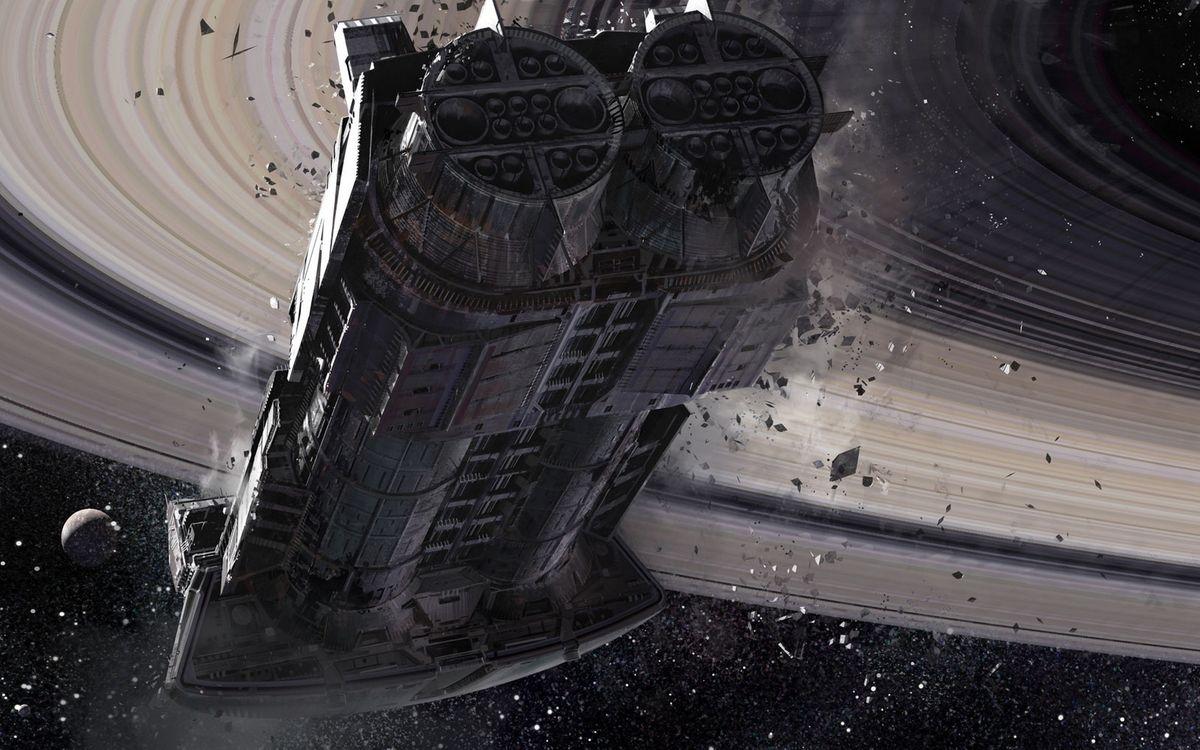Фото бесплатно космический корабль, подлет к планете, Сатурн, кольца, осколки, крушение, спутник, космос, фантастика