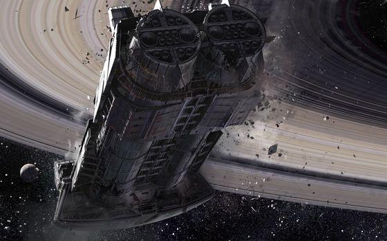 Бесплатные фото космический корабль,подлет к планете,Сатурн,кольца,осколки,крушение,спутник,космос
